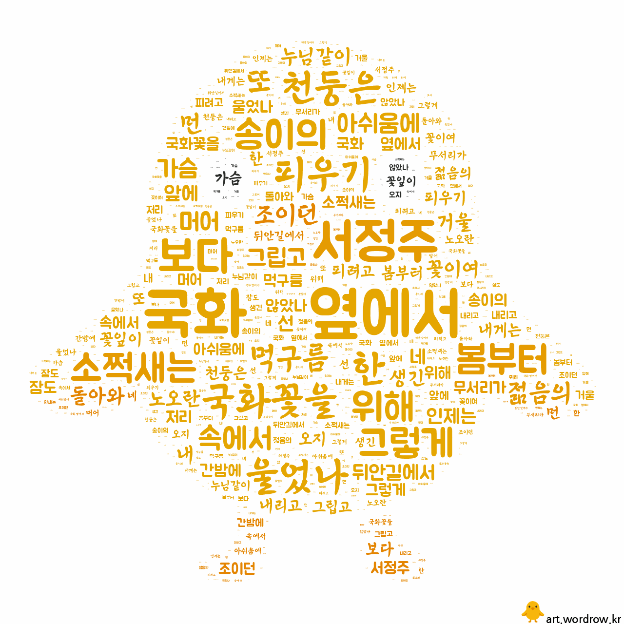 워드 아트: 국화 옆에서 [서정주]-1